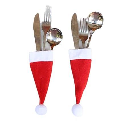 hirolan Navidad mesa decoración Sombrero de Papá Noel Soporte Funda Bolsita para cubiertos cubiertos para Navidad