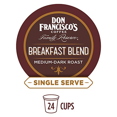 Don Francisco's Breakfast Blend (24 Pods) Dark Roast, Single Cup Coffee Pods, Compatible with Keurig K-Cup Machines ()