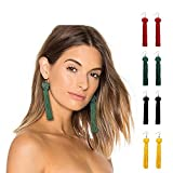 Auch Womens Long Tassel Dangle Earrings, 4 Pairs Dangle Tassel Earring for Women Girls Boho Earring Gradient