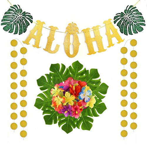 Deloky 23 Packs Hawaiian Aloha Party Decorations-Gold Glittery ALOHA Party Banners with Circle Dots , Tropical Palm Leaves and Hibiscus Flowers perfect for Summer Hawaiian ,Tropical ,Wedding and Birthday party Supplies