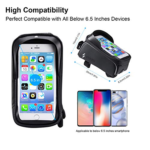 ANVAVA Bike Frame Bag Waterproof Bicycle Top Tube Pouch Phone Holder with Touchscreen Sun Visor and Headphone Hole for iPhone Samsung and other Smartphone Under 6.5 Inch