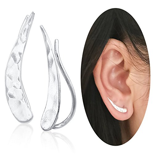 Ear Climber Crawler Cuff Earrings - 925 Sterling Silver - 925 Sterling Silver Pin