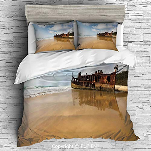 KING Size Cute 3 Piece Duvet Cover Sets Bedding Set Collection [ Ocean Decor,Antique Rusty Pirate Ship Wreck on the Coast in Caribbean Island Pacific Sea View,Multi ] Comforter Cover Set for Kids Girl
