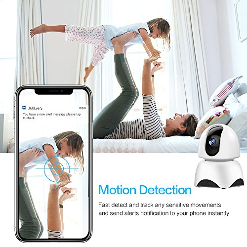 1080P Wireless IP Camera, 360 Home WiFi Security Camera Indoor Surveillance Camera System Panorama View for Pet/Baby Monitor Remote Viewer Nanny Cam with Pan/Tilt, Two-Way Audio & Night Vision by SHome (Image #2)