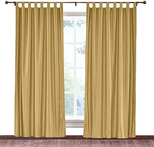 cololeaf Blackout Faux Silk Curtain Panels Draperies Tab Top,Energy Efficient Insulating Room Darkening Blackout Drapes for Living Room Bedroom,Gold 150W x 96L Inch 1 Panel