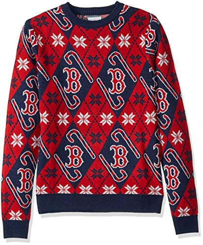 Red Sox Candy - FOCO MLB Boston Red Sox Unisex Candy Cane Repeat Crew Neck Sweater - MENSCANDY Cane Repeat Crew Neck Sweater - Mens, Team Color, L