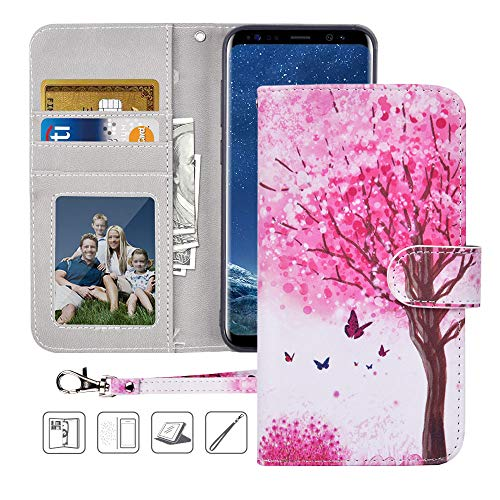 Galaxy S8 Wallet Case, Galaxy S8 Case,MagicSky Premium PU Leather Flip Folio Case Cover with Wrist Strap, Card Holder, Cash Pocket,Kickstand for Samsung Galaxy S8 - Pink Tree