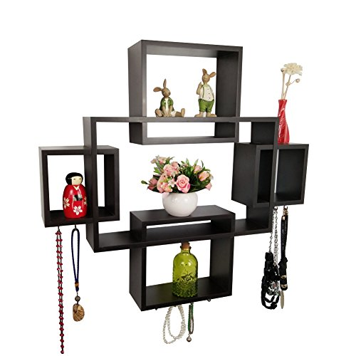 Shelving Solution Intersecting Squares Wall Shelf,Included with 12 Hooks (Espresso, Set of 5)