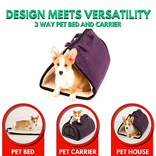 Suede Dog Carrier (Pet Bed and Pet Carrier Airline Approved Soft Sided Suede, 2-in-1 - Premium Bed for Cats and Dogs, Transformable to Carrier, Soft-sided, Premium Zippers, Durable Material – Perfect for Travel)