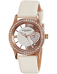 Women's AK811WTR Quartz Movement Watch with Rose Gold and See Thru Heart Dial Featuring a Cream Satin Strap