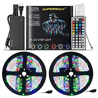 SUPERNIGHT LED Strip Lights,Two 16.4Ft LED Light Strip Kit Non-Waterproof DC12V 3528 RGB 300leds Flexible Strip Lights with Double PCB 44Key Remote,Stronger Adhesive Tape and 5A Adapter