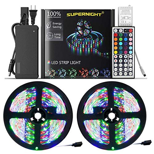 NEW 2019 LED Strip Lights Kit Non-waterproof- 32.8ft (10M) 600 LEDs SMD 3528 RGB Light with 44 Key Remote Controller, Extra Adhesive Tape, Flexible Changing Multi-Color Lighting Strips for TV, Room ()