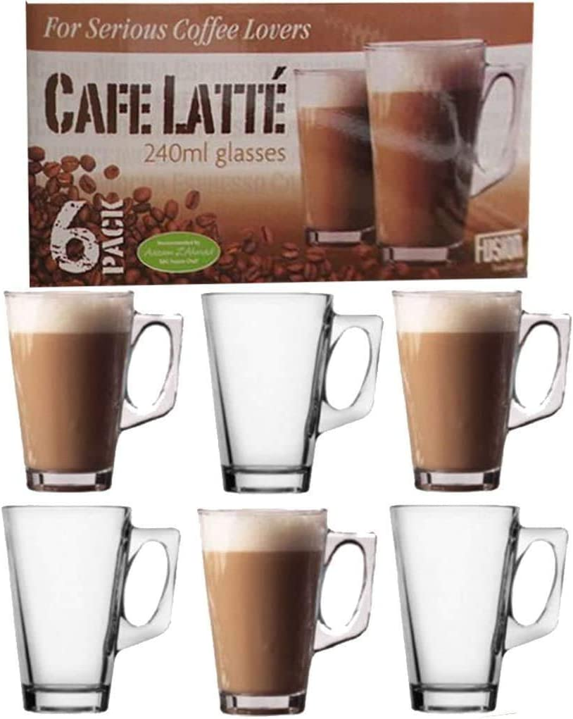 For Serious Coffee Lovers Cafe Latte 240ml Glasses Pack Of 6 Amazon Co Uk Kitchen Home
