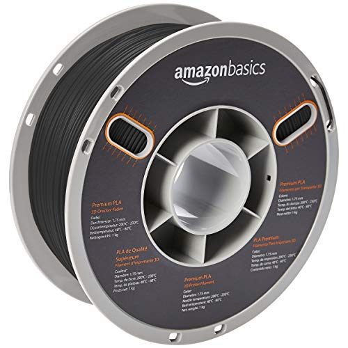 AmazonBasics Premium PLA 3D Printer Filament, 1.75mm, Black, 1 kg Spool
