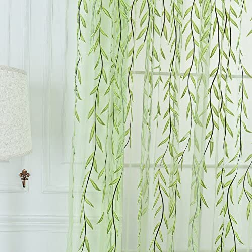 Willow Leaf Tulle Voile Door Window Curtain Drape Panel Sheer Scarf Valances New