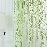 Edal Willow Tulle Voile Door Window Curtain Drape Panel Sheer Scarf Valances Green