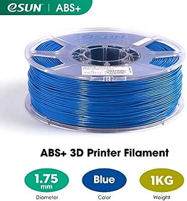 eSUN ABS Plus Filamento de Impresora 3D, Filamento ABS+ 1.75mm, Precisión Dimensional +/- 0.05mm, 2.2 LBS (1KG) de Carrete para la Impresora 3D, Azul