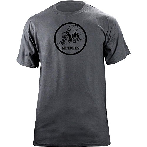 USAMM Officially Licensed Navy Seabees Subdued Veteran Patch T-Shirt (X-Large, Grey)