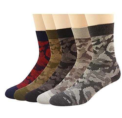 Mens Crew Dress Socks Retro Camouflage Cotton Casual All Season Socks 5Pack