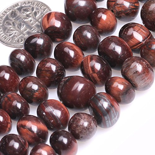 (GEM-inside Tiger Eye Gemstone Loose Beads 8X12mm FreeForm Potato Red Energy Stone Power Beads For Jewelry Making 15