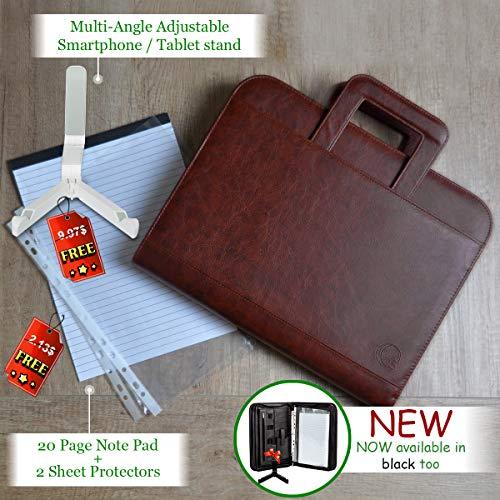 Premium Portfolio Binder Organizer - Vegan Leather Zippered Closure Padfolio Briefcase File Folder + Adjustable Smartphone/Tablet Stand (Brown) by Ofir Sales (Image #7)