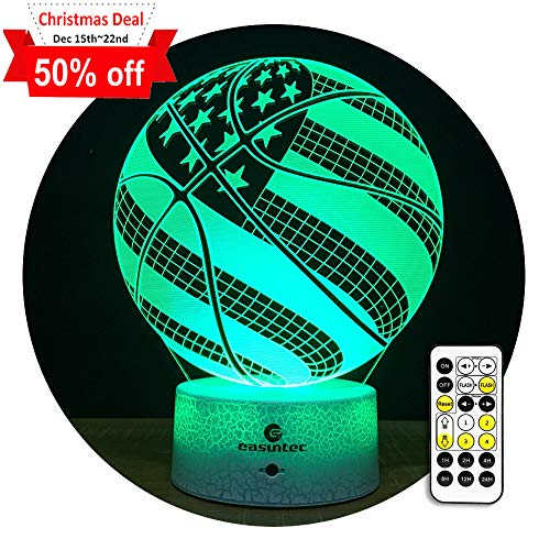 easuntec Night Lights for Kids Basketball Night Light 7 Colors Change with Timer Remote Gift idea Gifts for Boys (USA Flag Basketball)