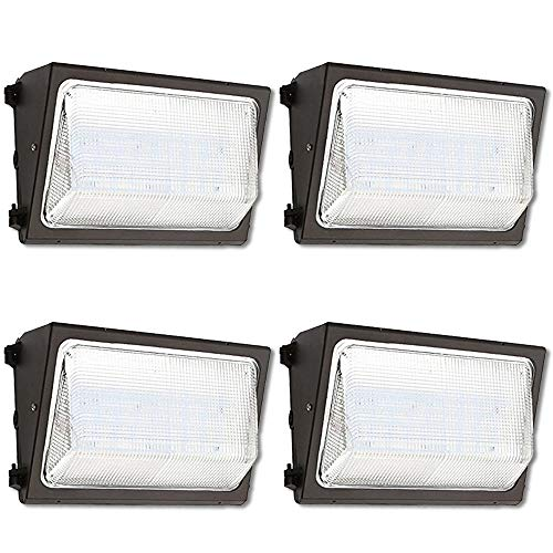 UL Listed- LED Wall Pack Outdoor Lighting, 5000K Cool White, Super Bright, 120 Degrees Beam Angle, Wall Light, Industrial Light, Comercial Light, Residential Light (50 Watts, 4-Pack)