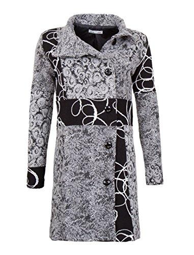 Diseñador Patchwork Mujeres de lana capa del invierno en 12 diferentes diseños Trench Coat Weiß/Schwarz