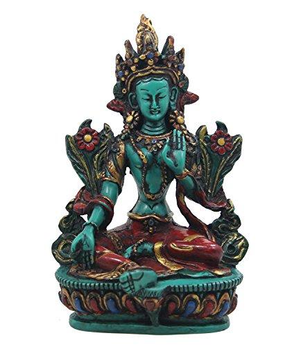 DharmaObjects Large Tibetan Buddhist Green Tara Resin Statue Mother Goddess 6
