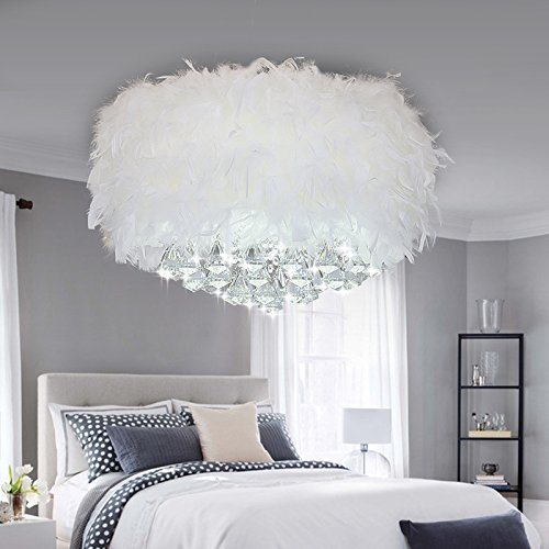 YanCui@ YanCui@ Girl#039s Room/Bedroom/Living room/Children#039s room Feather crystal Ceiling light