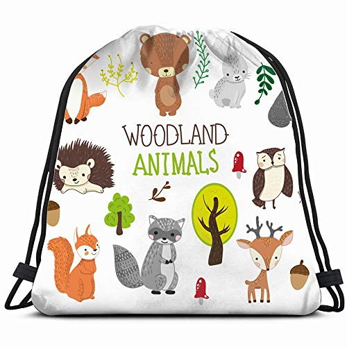 Hand Drawn Woodland Animals Clipart Wildlife Drawstring Backpack Gym Sack Lightweight Bag Water Resistant Gym Backpack For Women&Men For Sports,Travelling,Hiking,Camping,Shopping Yoga