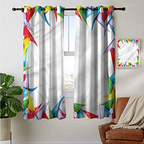 petpany Blackout Lined Curtains Pinwheel,Colorful Figure in Square,Thermal Insulated,Grommet Curtain Panel 1 Pair 42
