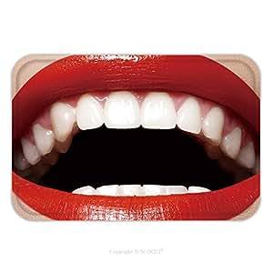 Franela de microfibra antideslizante suela de goma suave absorbente Felpudo alfombra alfombra alfombra Close Up Happy hembra sonrisa con dientes blancos sana rojo brillante labios Make Up 88284919de peluquería para interior/outd