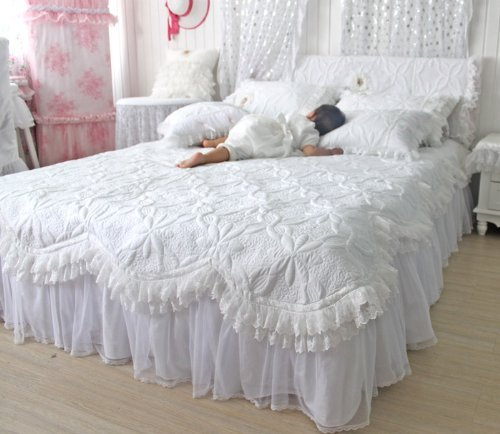 FADFAY,Custom Made Beautiful Comforters Sets,White Lace Ruffled Bedding Set,Luxury Summer Quilt Set,Patchwork Quilt,Quilted Set,Quilting,Twin Queen King Bed Set,4Pcs (6.6 feet bed)