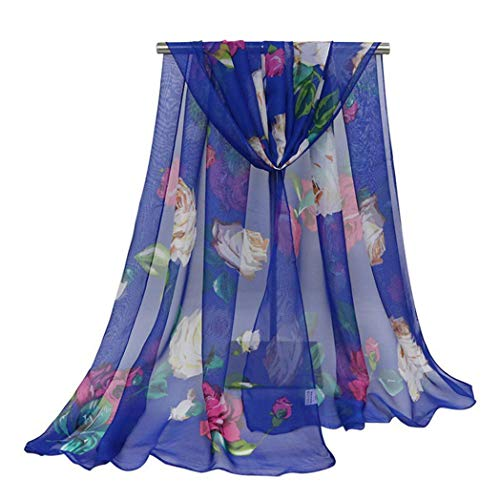 426JingYu Floral Scarves for Women Super Lightweight Fashion Scarves for Women,Soft Scarf Scarves Neck Wrap Shawl Sapphire Blue
