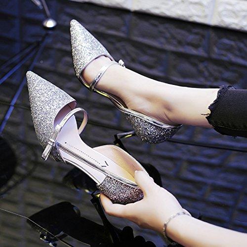 GAOLIM Chica De Primavera Señaló Los Zapatos De Tacón Alto Con Una Fina Plata Sequined Los Zapatos De Tacón Alto, Zapatos Comerciante Plateado