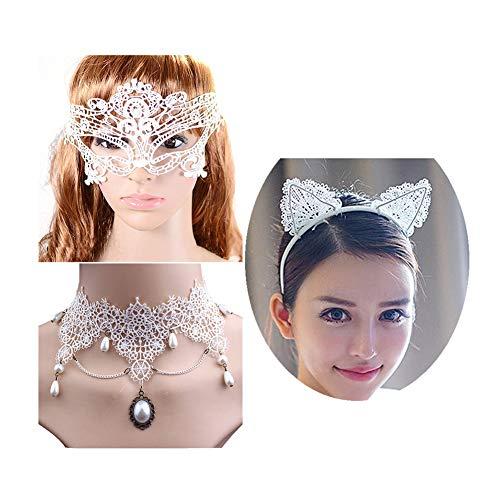Necklace Choker Cat Eye (Zealmer Shoopic Sexy Cat Ear Headband Lace Masquerade Mask White Choker Cosplay Costume Jewelry)