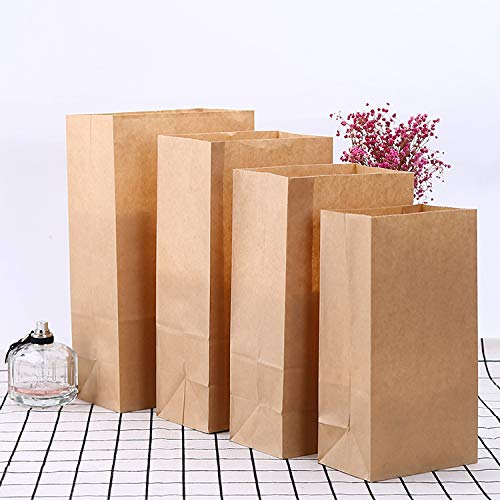 yuntaokexinxi 50 kraft paper kraft paper bags, grocery bags, paper storage bags, bread candy gift bags, DIY gift decorative bags, Christmas wedding birthday party without handles