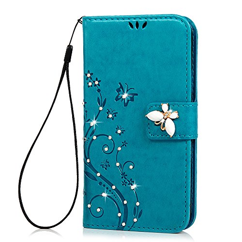 S5-CaseSamsung-Galaxy-S5-Case-Maviss-Diary-3D-Handmade-Wallet-Bling-Crystal-Diamonds-Butterfly-Fashion-Floral-PU-Leather-with-Hand-Strap-Magnetic-Clasp-Card-Holders
