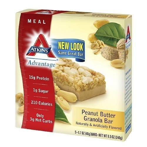 Atkins Advantage Peanut (Atkins Advantage Meal Bars, Peanut Butter Granola 5 bars 1.7oz)