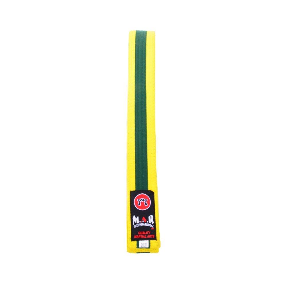 M.A.R International Ltd. MAR Yellow & Green Stripe Belt -Karate Belts/Judo Belts