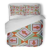 SanChic Duvet Cover Set Accent Abstract Pattern with Arrows on Button Allusive Decorative Bedding Set with 2 Pillow Shams Full/Queen Size