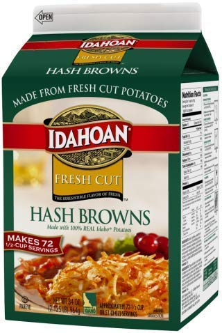 Idahoan Fresh Cut Premium Hash Browns, Made with Gluten-Free 100-Percent Real Idaho Potatoes, 34oz Carton (72 Servings)