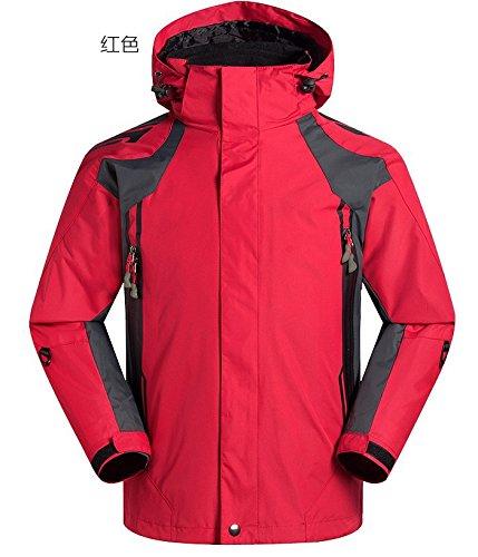 DYF Manteau hommes veste de ski bas fermeture éclair Manches Longues Chapeau chaud épaissie, rouge, S