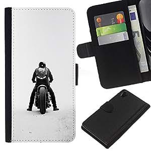 KLONGSHOP // Tirón de la caja Cartera de cuero con ranuras para tarjetas - Bobber de la motocicleta - Sony Xperia Z2 D6502 //