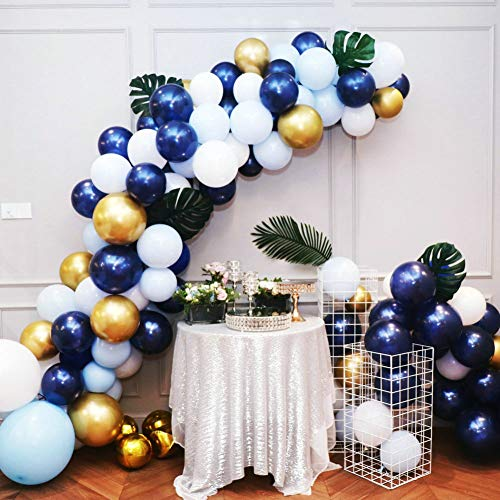 Navy Blue and Gold Balloons 58PCS DIY Blue Balloon Garland Arch Kit, 16 Ft Strip for Graduation, Baby Shower, Boy Birthday Party ()