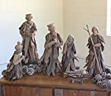 MutterMui Set Of 6 Large Christmas Driftwood Nativity Set Holiday Decor