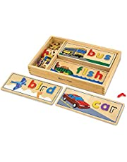 Melissa & Doug See & Spell Wooden Educational Toy With 8 Double-Sided Spelling Boards and 63 Letters