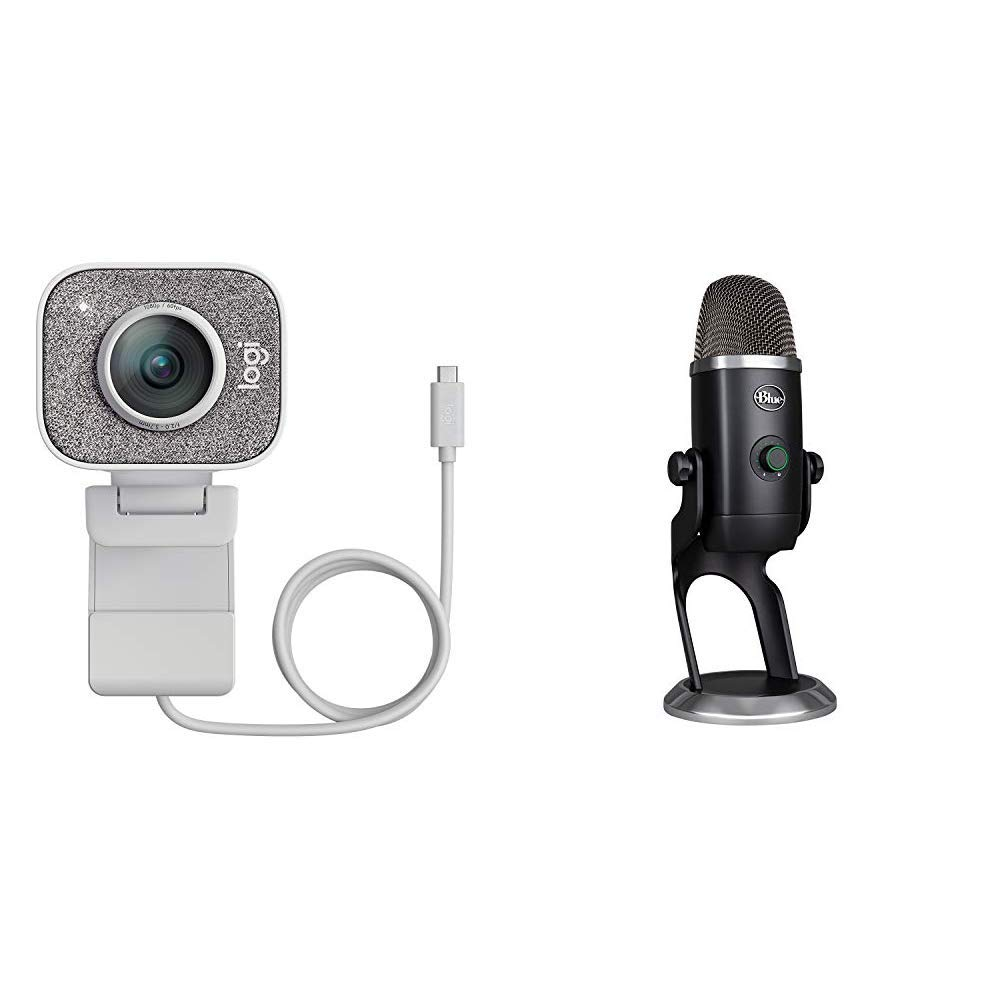 Logitech Streamcam for Full HD Live Streaming and content Creation - Off White+Blue Microphones Yeti x Professional Condenser USB Microphone with High-Res Metering- Blackout