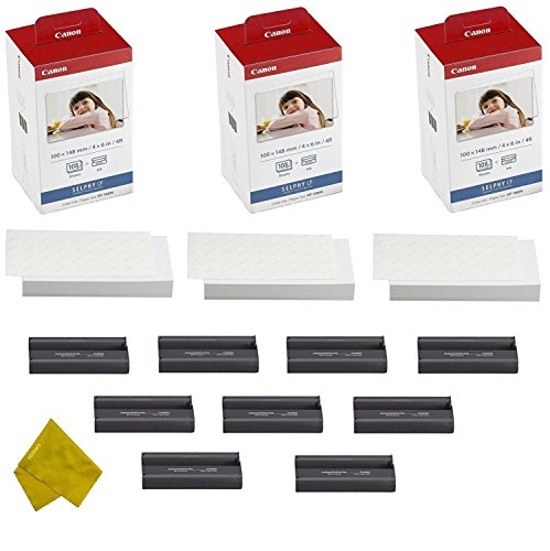 Paper Cassette - Canon KP-108IN 9 Color Ink Cassette and 324 Sheets 4 x 6 Paper Glossy For SELPHY CP1300, CP1200, CP910, CP900, CP760, CP770, CP780 CP800 Wireless Compact Photo Printer